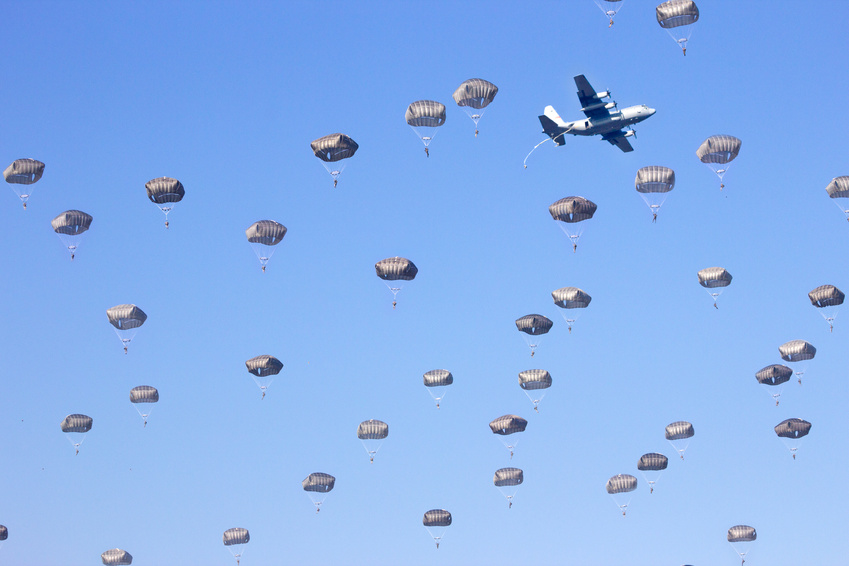 Paratroopers in the sky