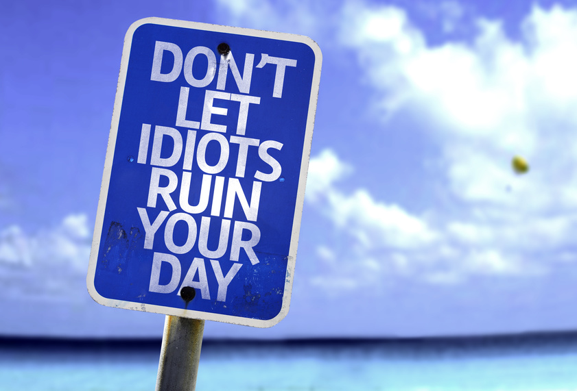 Don't Let Idiots Ruin Your Day sign with a beach on background