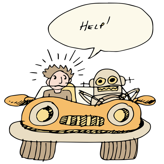 An image of a robotic self driving car.