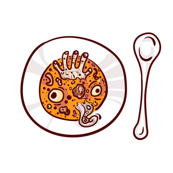 Soup with eyeballs, dead man hand and tentacle. Halloween dinner clip-art, isolated on white. Hand drawn sketchy icon, design element for halloween party invitation card