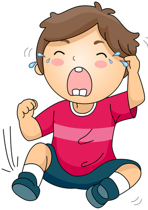 Illustration of a Crying Kid sitting on the Ground